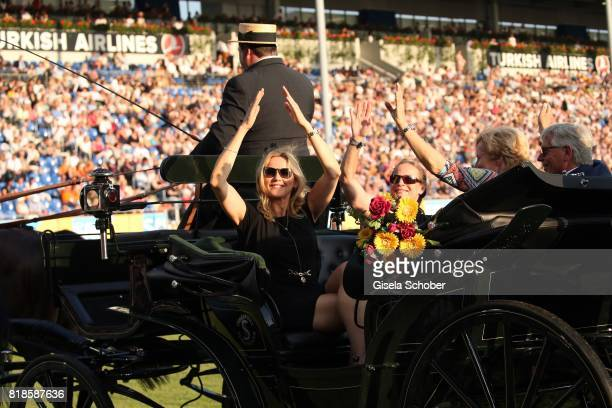 Veronica Ferres Isabell Werth in a carriage during the media night of the CHIO 2017 on July 18 2017 in Aachen Germany