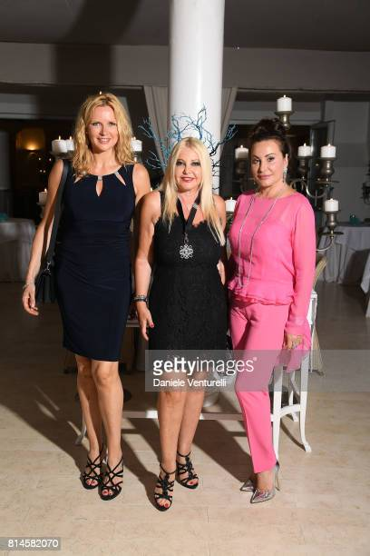Veronica Ferres Lady Monika Bacardi and Darina Padlova attend AMBI Media Group Dinner in honor for Lily Collins during the 2017 Ischia Global Film...