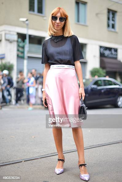 Veronica Giomini poses wearing a Gucci skirt before the Dolce and Gabbana show during the Milan Fashion Week Spring/Summer 16 on September 27 2015 in...