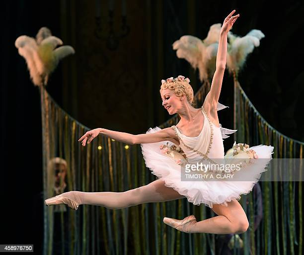 Veronica Ignatyeva as Cupid of the Mikhailovsky Ballet of St Petersburg Russia performs a scene from 'The Flames of Paris ' during a dress rehearsal...