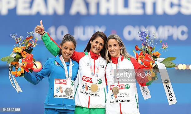 Veronica Inglese of Italy Sara Moreira of Portugal and Jessica Augusto of Portugal celebrate on the podium after winning medals in the final of the...