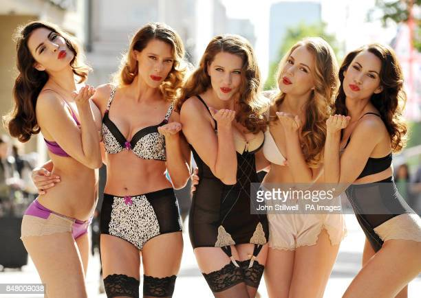 Veronica Jocette Madeline Annie and Genavieve model the new range of Diamond Jubilee underwear which emulates the glamour of the 1950's from Marks...