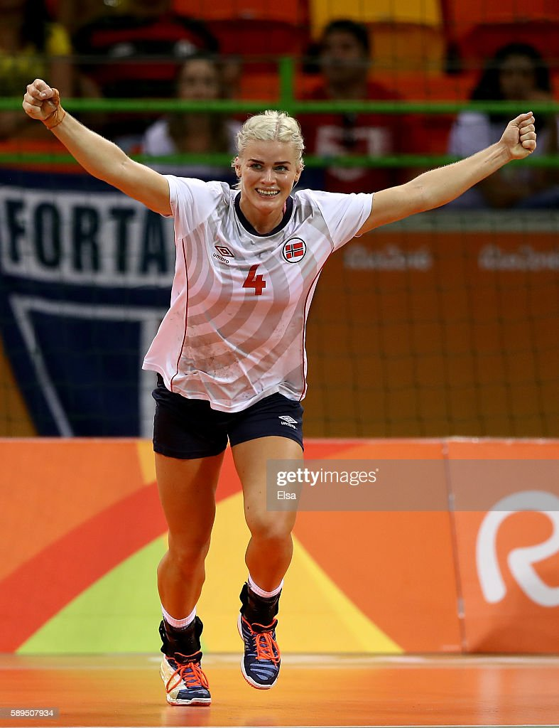 Veronica Kristiansen of Norway celebrates her goal in the second half against Romania on Day 9 of the Rio 2016 Olympic Games at the Future Arena on...