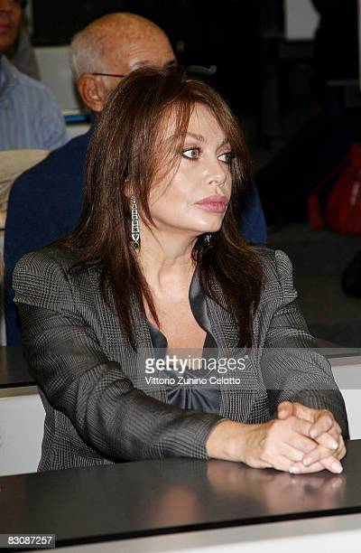 Veronica Lario Berlusconi wife of Italian Prime Minister Silvio Berlusconi attends a meeting on ethics at the Bocconi University on October 2 2008 in...
