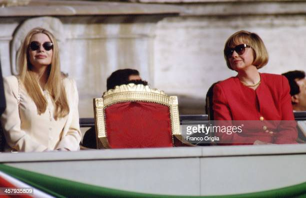 Veronica Lario second wife of Italian Prime Minister Silvio Berlusconi and US First Lady Hillary Clinton at the Campidoglio city hall during an...