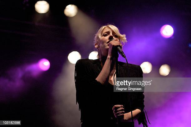Veronica Maggio performs on stage during Storaas Festival on July 31 2010 in Storaas Norway