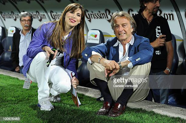 Veronica Maia and President of Telethon Luca Cordero di Montezemolo attend the XIX Partita Del Cuore charity football game at on May 25 2010 in...