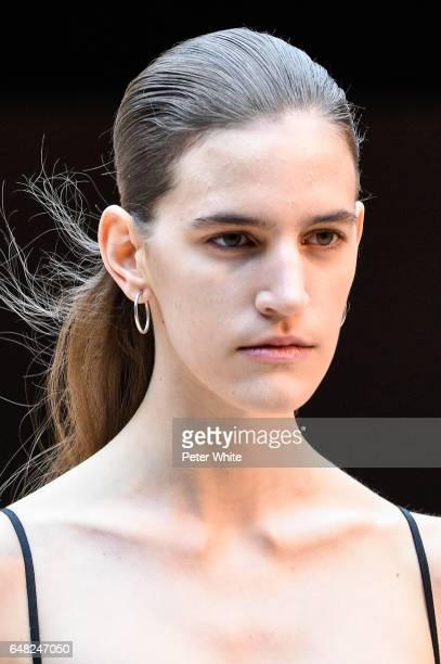 Veronica Manavella beauty detail walks the runway during the Celine show as part of the Paris Fashion Week Womenswear Fall/Winter 2017/2018 on March...