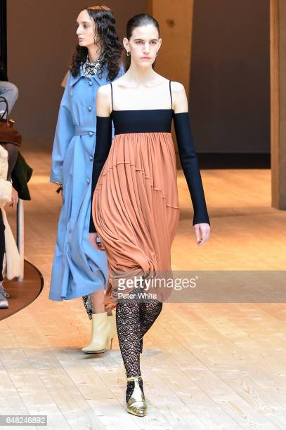 Veronica Manavella walks the runway during the Celine show as part of the Paris Fashion Week Womenswear Fall/Winter 2017/2018 on March 5 2017 in...