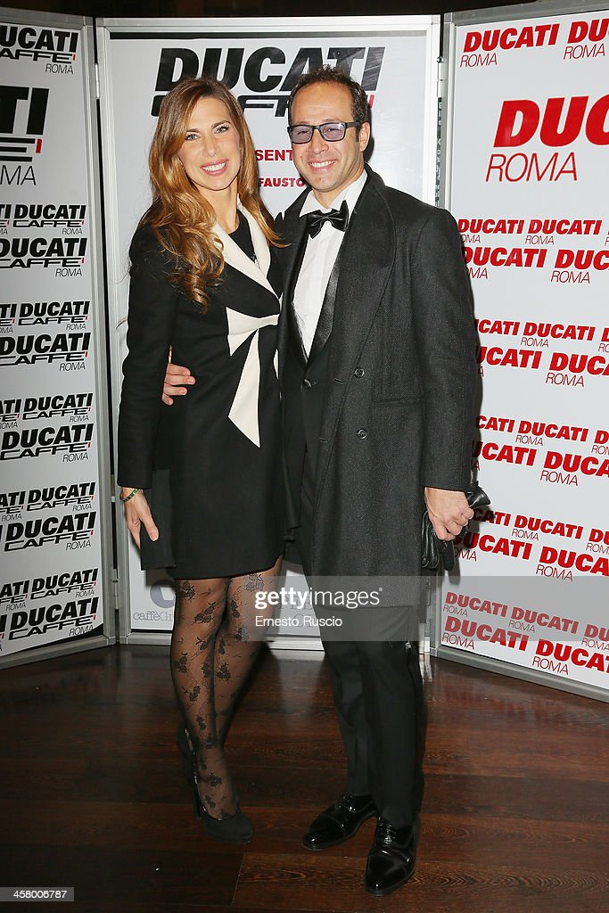 Veronica Maya and Marco Moraci attend the 'Indovina Chi Viene A Natale' party at Ducati Caffe on December 19, 2013 in Rome, Italy.