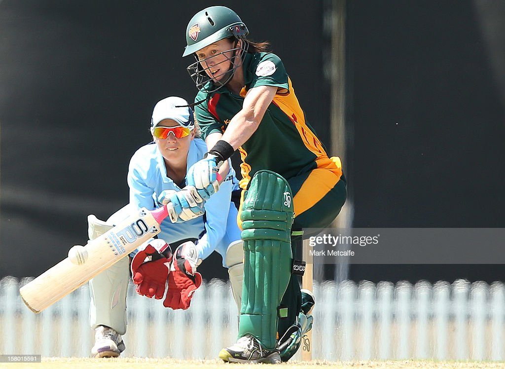 Veronica Pyke of the Roar bats during the women's Twenty20 match between the New South Wales Breakers and the Tasmania Roar at Blacktown International Sportspark on December 9, 2012 in Sydney, Australia.