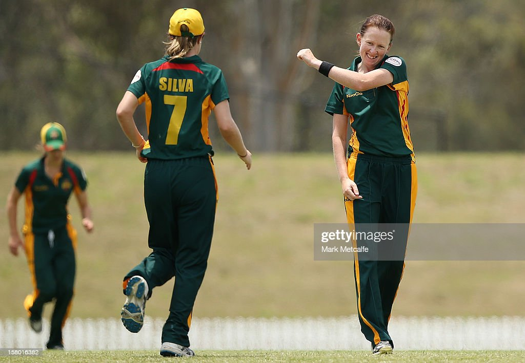 Veronica Pyke of the Roar celebrates taking the wicket of Lisa Sthalekar of the Breakers during the women's Twenty20 match between the New South Wales Breakers and the Tasmania Roar at Blacktown International Sportspark on December 9, 2012 in Sydney, Australia.