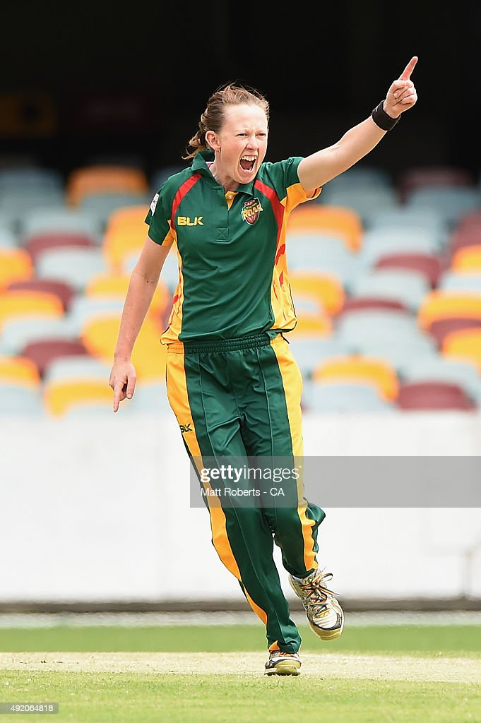 Veronica Pyke of the Roar celebrates the wicket of Hayley Jensen of the Spirit during the round one WNCL match between Victoria and Tasmania at Allan...