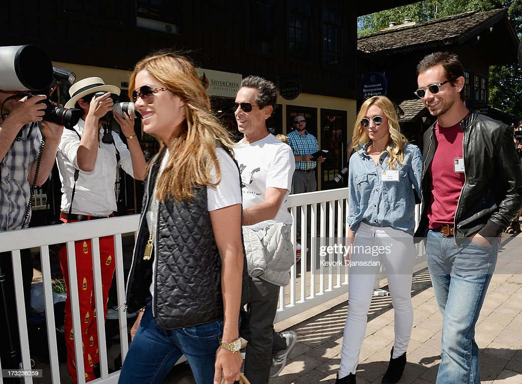 Veronica Smiley, (L) Brian Grazer, (2nd L) film and television producer, Kate Greer and Jack Dorsey, creator of Twitter and founder and CEO of Square Inc., during a lunch break at the Allen & Co. annual conference on July 10, 2013 in Sun Valley, Idaho. The resort will host corporate leaders for the 31st annual Allen & Co. media and technology conference where some of the wealthiest and most powerful executives in media, finance, politics and tech gather for weeklong meetings which begins Tuesday. Past attendees included Warren Buffett, Bill Gates and Mark Zuckerberg.