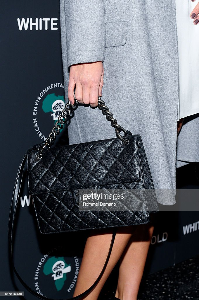 Veronica Varekova (bag detail) attends a special screening of 'White Gold' at Museum of Modern Art on November 12, 2013 in New York City.