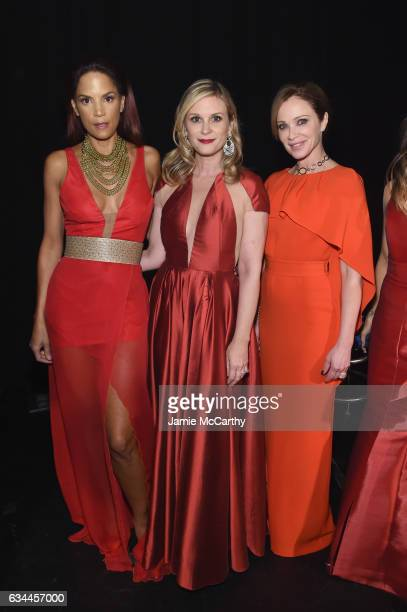 Veronica Webb Bonnie Somerville and Lauren Holly attend the American Heart Association's Go Red For Women Red Dress Collection 2017 presented by...