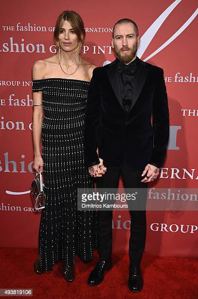 Veronika Heilbrunner and Justin O'Shea attend the 2015 Fashion Group International Night Of Stars Gala at Cipriani Wall Street on October 22 2015 in...