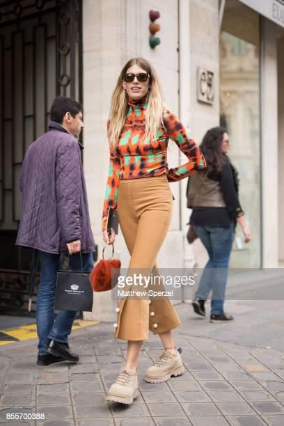 Veronika Heilbrunner is seen attending Undercover during Paris Fashion Week wearing Undercover on September 29 2017 in Paris France