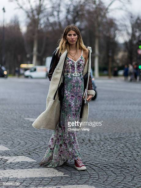 Veronika Heilbrunner outside Chanel during the Paris Fashion Week Haute Couture Spring/Summer 2016 on January 26 2016 in Paris France