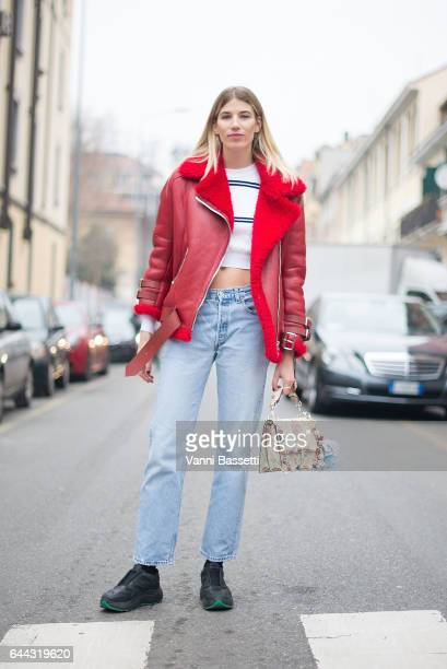 Veronika Heilbrunner poses after the Fendi show during Milan Fashion Week Fall/Winter 2017/18 on February 23 2017 in Milan Italy