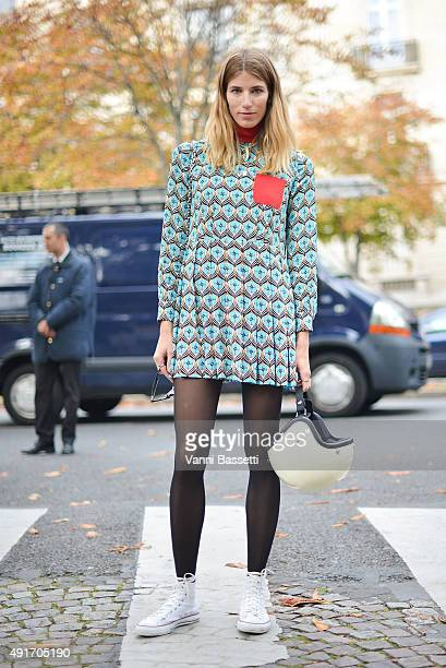 Veronika Heilbrunner poses before the Miu Miu show at the Palais de Iena during Paris Fashion Week SS16 on October 7 2015 in Paris France