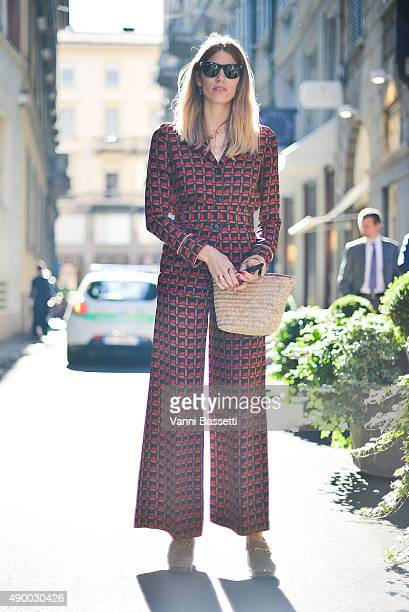 Veronika Heilbrunner poses before the Tod's show during the Milan Fashion Week Spring/Summer 16 on September 25 2015 in Milan Italy