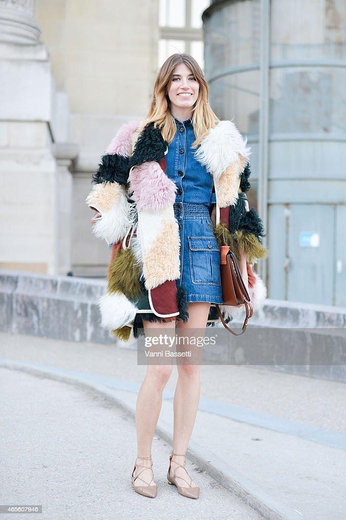 Veronika Heilbrunner poses wearing a Chloe total look on Day 6 of Paris Fashion Week Womenswear FW15 on March 8 2015 in Paris France