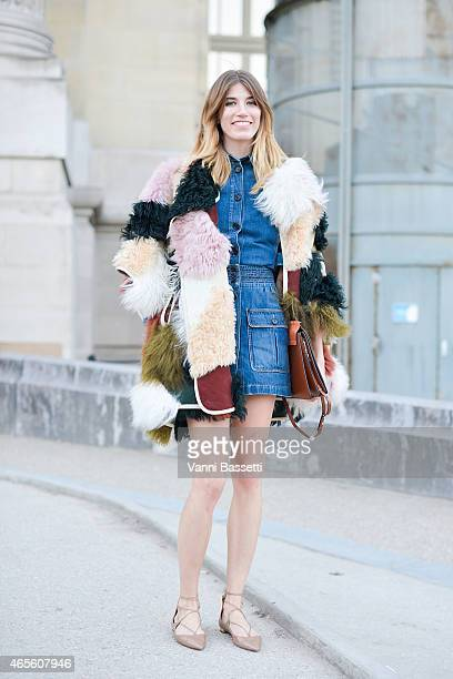 Veronika Heilbrunner poses wearing a Chloe total look on Day 6 of Paris Fashion Week Womenswear FW15 on March 8 2015 in Paris France