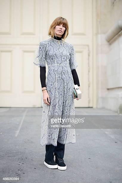 Veronika Heilbrunner poses wearing a K is for Kani dress on September 24 2014 in Paris France