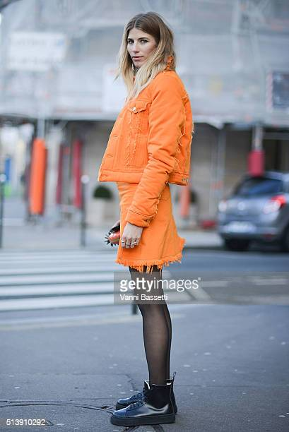 Veronika Heilbrunner poses wearing Acne Studios before the Acne Studios show at the Hotel Potocki during Paris Fashion Week FW 16/17 on March 5 2016...