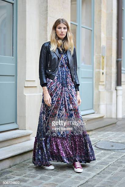 Veronika Heilbrunner poses wearing an Etro dress before the Schiaparelli show at Place Vendome during Haute Couture on January 25 2016 in Paris France
