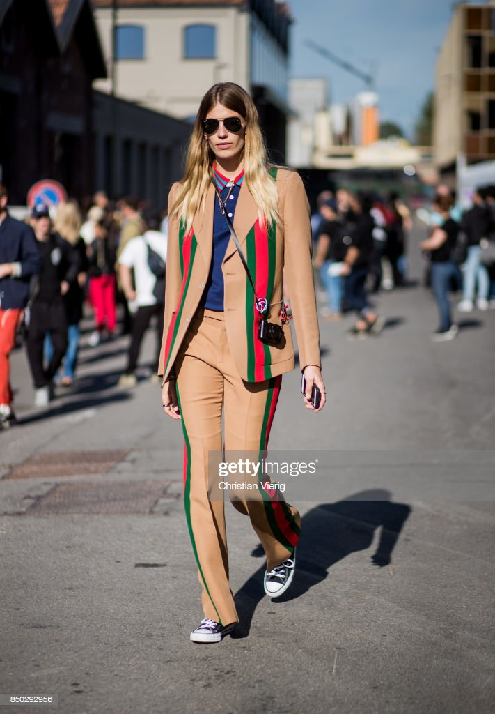 Veronika Heilbrunner wearing brown Gucci suit is seen outside Gucci during Milan Fashion Week Spring/Summer 2018 on September 20, 2017 in Milan, Italy.