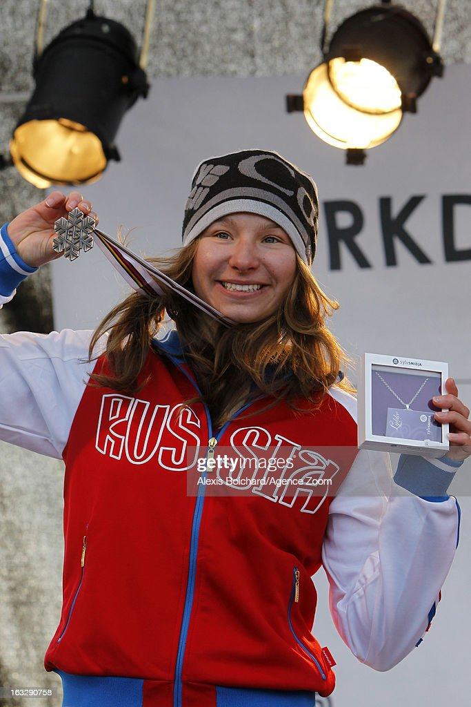 Veronika Korsunova of Russia takes second place during the FIS Freestyle Ski World Championship Men's and Women's Aerials on March 07, 2013 in Voss, Norway.