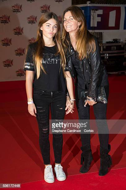 Veronika Loubry and her daughter Thylane Blondeau arrive at the 17th NRJ Music Awards at Palais des Festivals on November 7 2015 in Cannes France