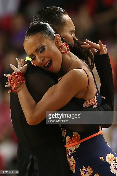 Veronika Popova and partner Maxim Antipin of Kazakhstan compete in the DancesportLatin Five Dances Final at Samsan World Gymnasium during day 6 of...