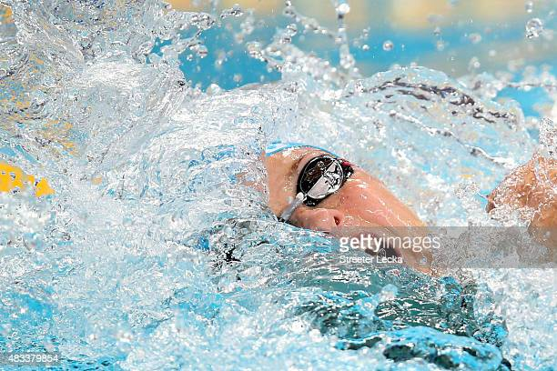 Veronika Popova of Russia competes in the Mixed 4x100m Freestyle Relay heats on day fifteen of the 16th FINA World Championships at the Kazan Arena...