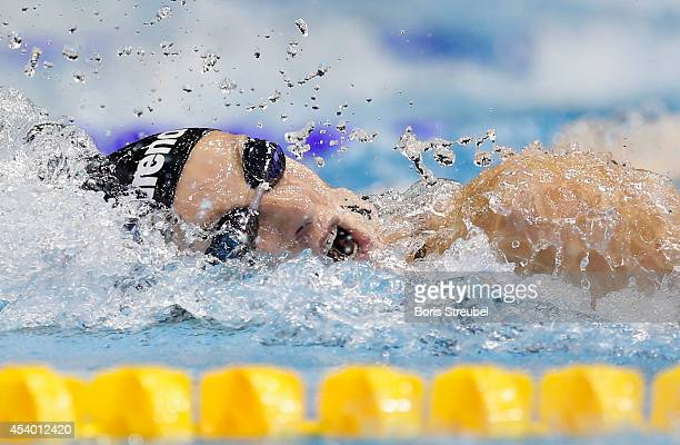Veronika Popova of Russia competes in the women's 200m freestyle final during day 11 of the 32nd LEN European Swimming Championships 2014 at...