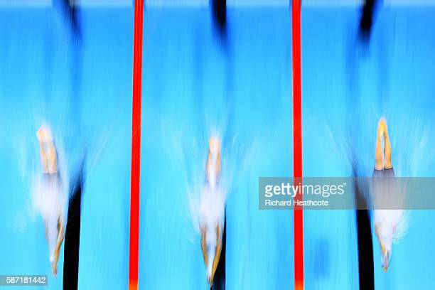 Veronika Popova of Russia Federica Pellegrini of Italy and Missy Franklin of the United States competes in the Women's 200m Freestyle heat on Day 3...