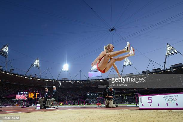 Veronika Shutkova of Belarus competes in the Women's Long Jump Final on Day 12 of the London 2012 Olympic Games at Olympic Stadium on August 8 2012...