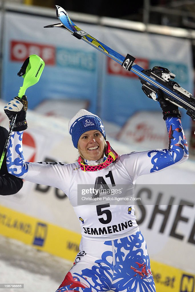 Veronika Velez Zuzulova of Slovakia celebrates after taking 1st place during the Audi FIS Alpine Ski World Cup Women's Slalom on December 29, 2012 in Semmering, Austria.