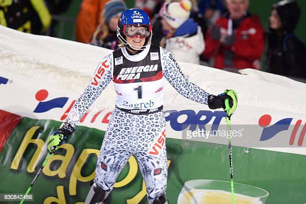Veronika Velez Zuzulova of Slovakia celebrates in finish line after her second run of the FIS slalom ski event on mounting Sljeme some 10 kilometers...