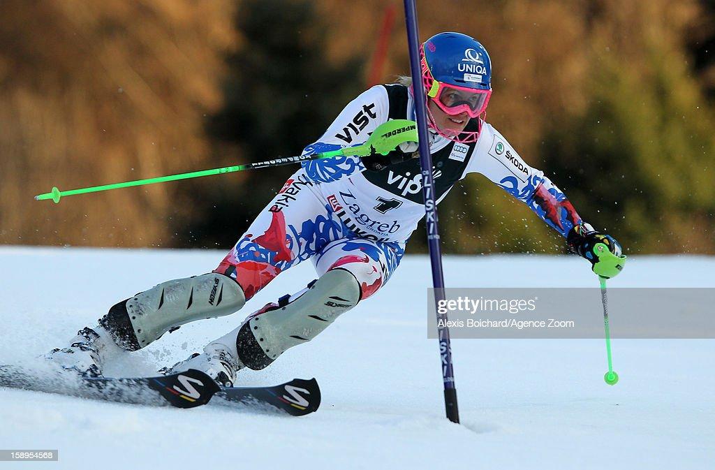 Veronika Velez Zuzulova of Slovakia competes during the Audi FIS Alpine Ski World Cup Women's Slalom on January 4, 2013 in Zagreb, Croatia.