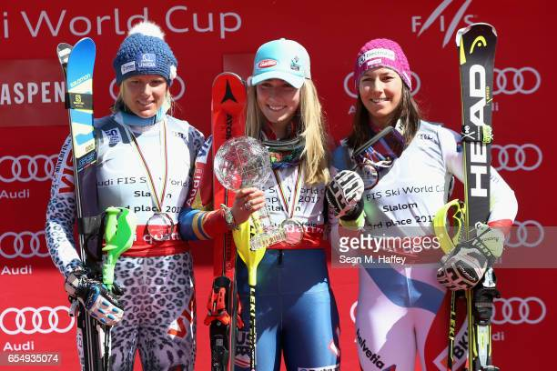 Veronika Velez Zuzulova of Slovakia in second place Mikaela Shiffrin of the United States in first place and Wendy Holdener of Switzerland in third...