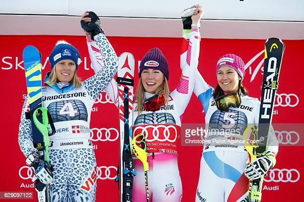 Veronika Velez Zuzulova of Slovakia takes 2nd place Mikaela Shiffrin of USA takes 1st place Wendy Holdener of Switzerland takes 3rd place during the...