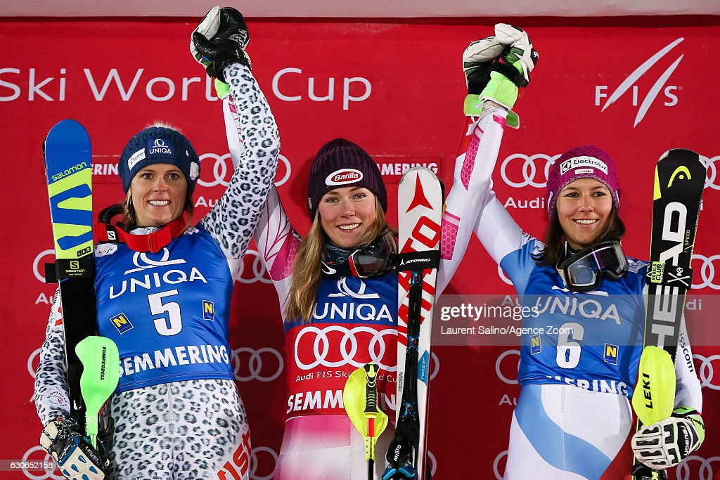 Veronika Velez Zuzulova of Slovakia takes 2nd place, Mikaela Shiffrin of USA takes 1st place, Wendy Holdener of Switzerland takes 3rd place during the Audi FIS Alpine Ski World Cup Women's Slalom on December 29, 2016 in Semmering, Austria