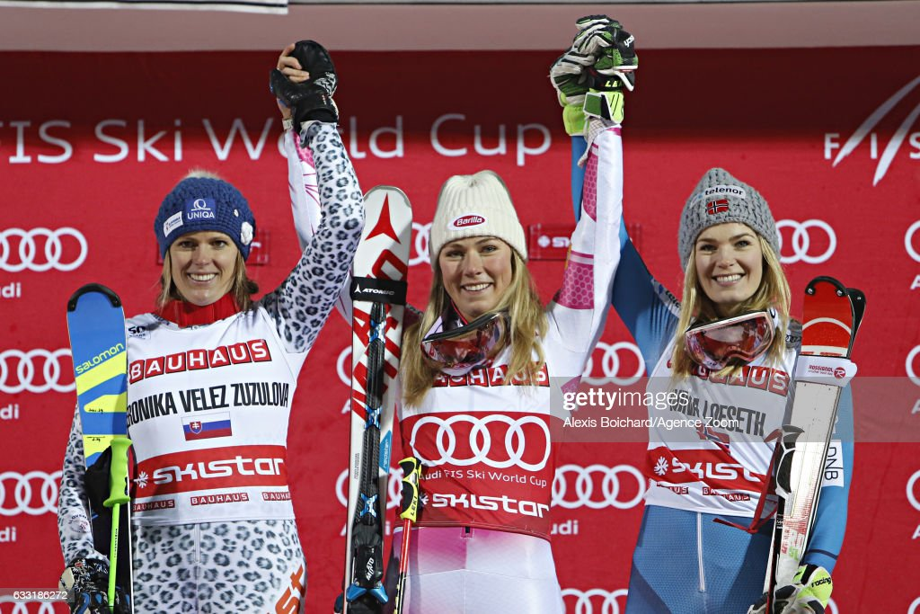 Veronika Velez Zuzulova of Slovakia takes 2nd place, Mikaela Shiffrin of USA takes 1st place, Nina Loeseth of Norway takes 3rd place during the Audi FIS Alpine Ski World Cup Men's and Women's Parallel Slalom City Event on January 31, 2017 in Stockholm, Sweden