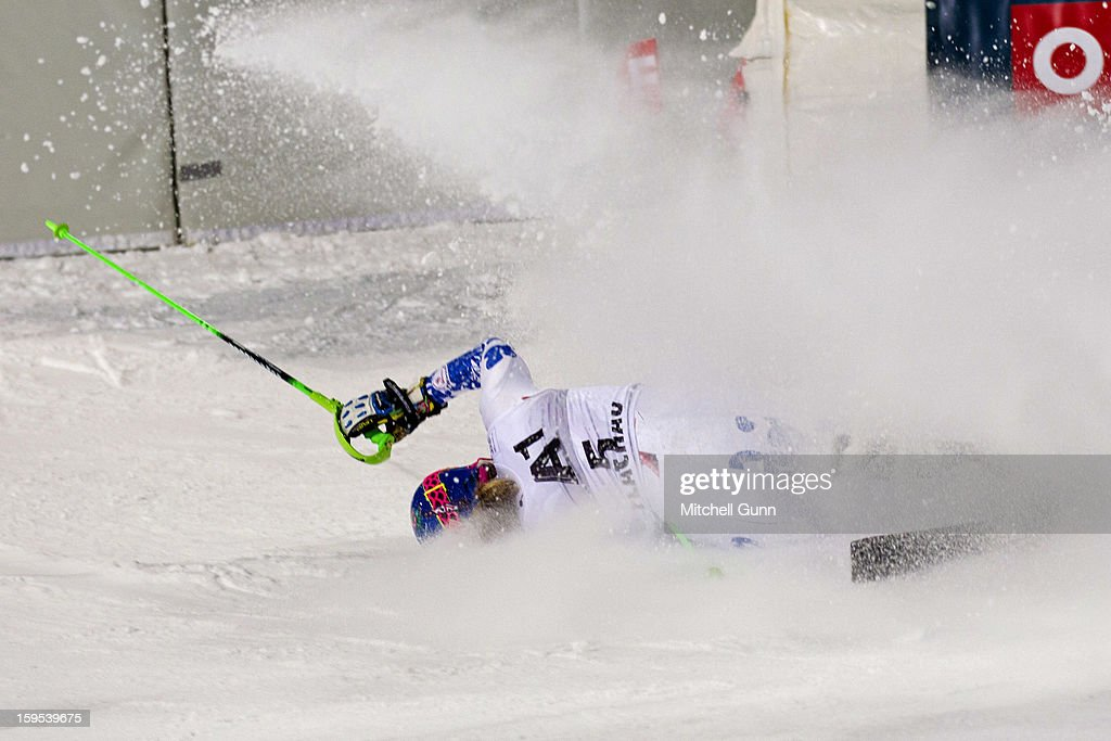 Veronika Velez-Zuzulova of Slovakia crashes out of the race whilst competing in the Audi FIS Alpine Ski World Cup Slalom race on January 15, 2013 in Flachau, Austria,
