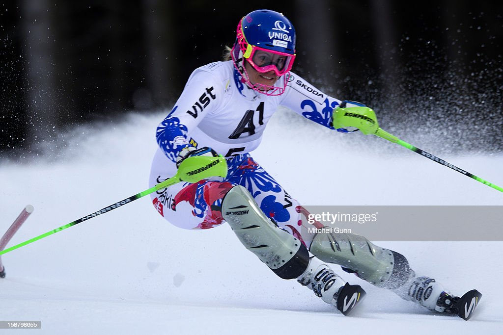 Veronika Velez-Zuzulova of Slovakia races down the course whilst competing in the Audi FIS Alpine Ski World Cup Slalom Race on December 20, 2012 in Semmering, Austria.