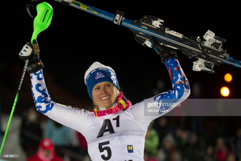 Veronika Velez-Zuzulova of Slovakia reacts after winning the Audi FIS Alpine Ski World Cup Slalom Race on December 29, 2012 in Semmering, Austria.