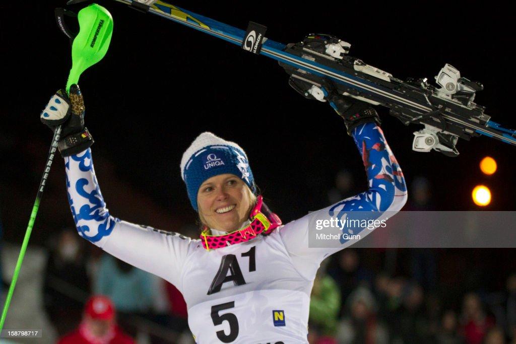 Veronika Velez-Zuzulova of Slovakia reacts after winning the Audi FIS Alpine Ski World Cup Slalom Race on December 29, 2012 in Semmering, Austria.